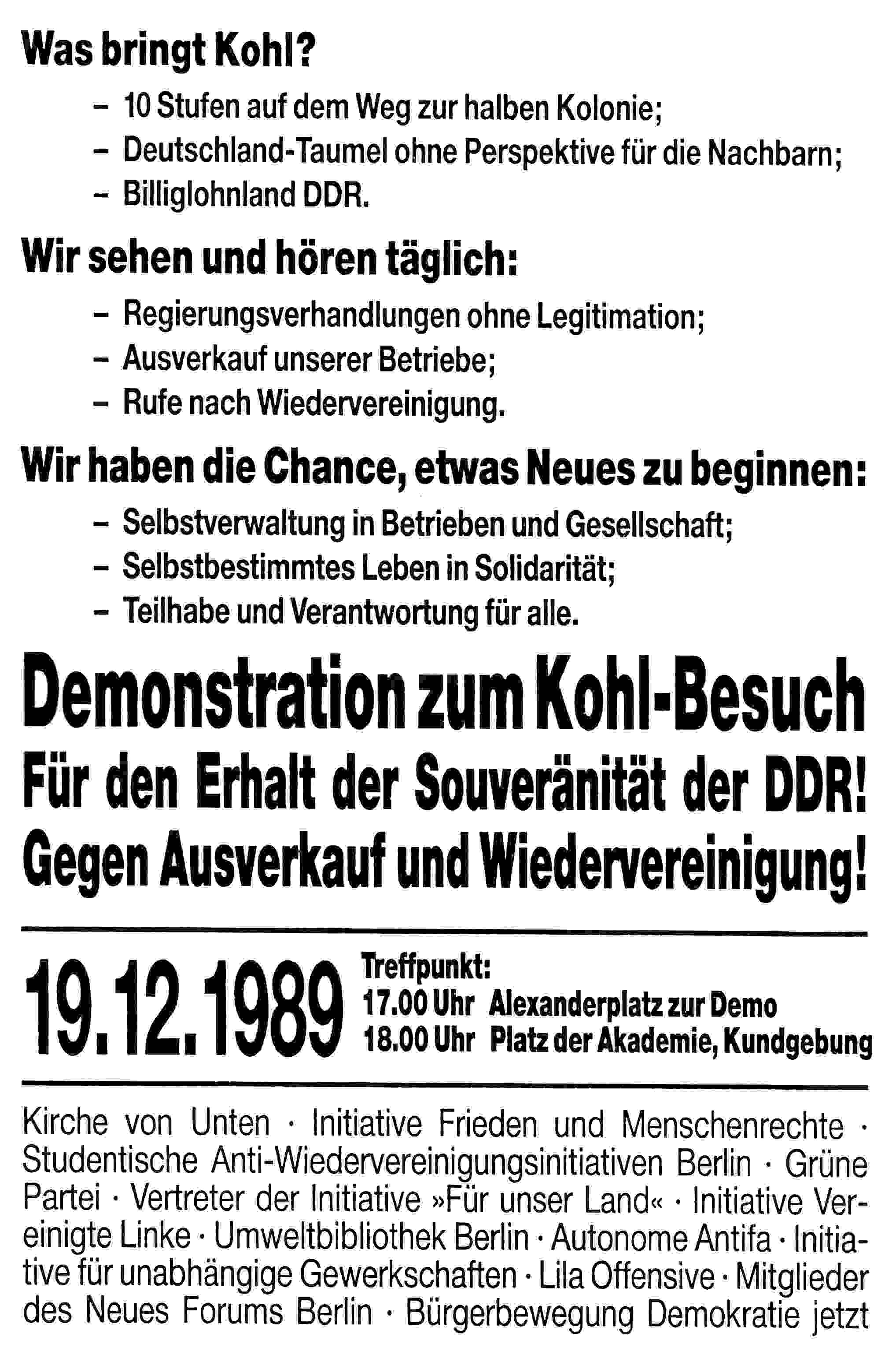 Demonstration in Berlin zum Kohlbesuch in Dresden